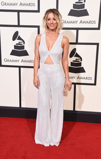 jumpsuit kaley cuoco pants sequins red carpet dress clutch grammys 2016 bag plunge v neck glitter cut-out palazzo jumpsuit silver jumpsuit classy red carpet metallic clutch gold clutch celebrity
