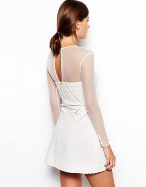 Self portrait panelled dress with mesh bodice & sleeves at asos