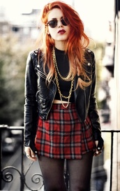 skirt,grunge,clothes,plaid,tartan,jacket,punk,leather jacket,high waisted skirt,checkered,black,crop tops,necklace,sunglasses,streetwear,lipstick,red,black leather jacket,plaid skirt
