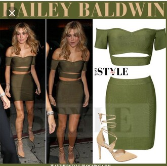 dress olive green bodycon dress two piece dress set off the shoulder green green dres green dress olive green dress off the shoulder dress party dress sexy party dresses sexy dress sexy sexy outfit party outfits bodycon summer dress summer outfits spring dress spring outfits fall dress fall outfits winter dress winter outfits classy dress elegant dress hailey baldwin celebrity celebrity style celebstyle for less cocktail dress date outfit birthday dress summer holidays holiday dress romantic dress romantic summer dress clubwear club dress wedding clothes