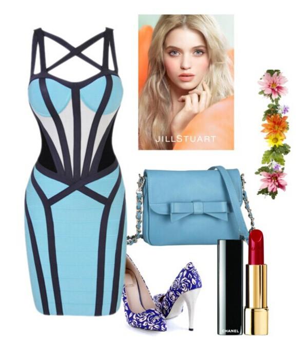 dress blue sky blue bandage dress straps evening dress party dress