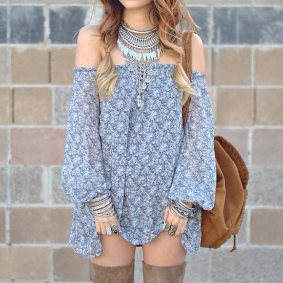 boho dress summer dress blue dress summer