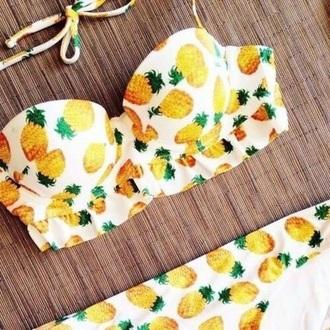 swimwear pineapple swimsuit yellow swimwear white swimwear bikini