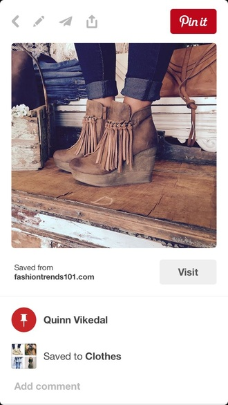 shoes fringes ankle boots boho brown fall outfits wedges