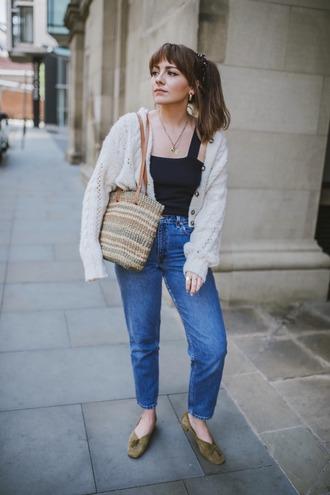 top black top sweater jeans denim shoes bag
