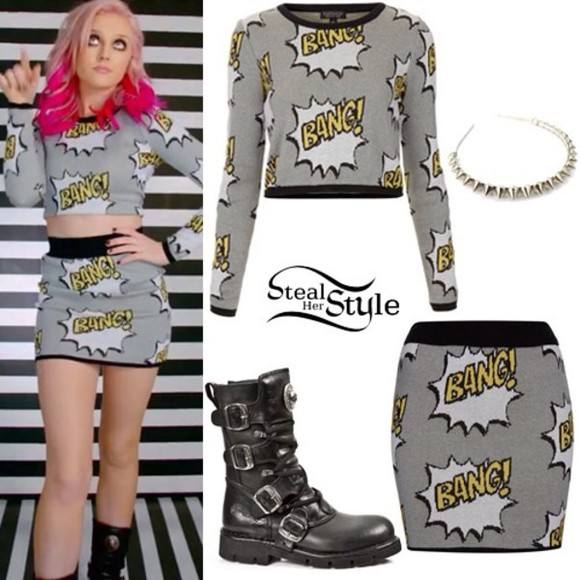 bang t-shirt skirt white perrie edwards grey yellow knit little mix hat shirt