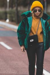 jacket,tumblr,velvet,green jacket,puffer jacket,sweater,mustard,yellow,yellow sweater,beanie,knitwear,pants,black pants,black leather pants,leather pants,bag,black bag,chain bag