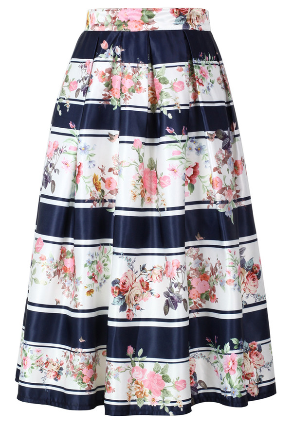 skirt stripes blooming floral midi