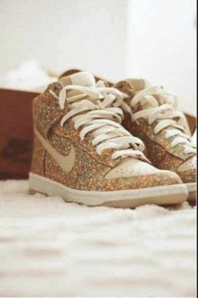 gold shoes glitter nike