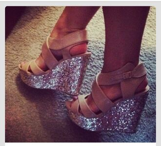 shoes sparkle wedges tan nude princess silver