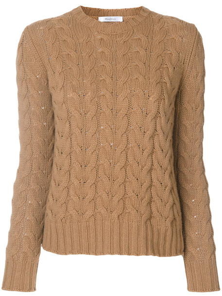 Max Mara jumper women wool knit brown sweater