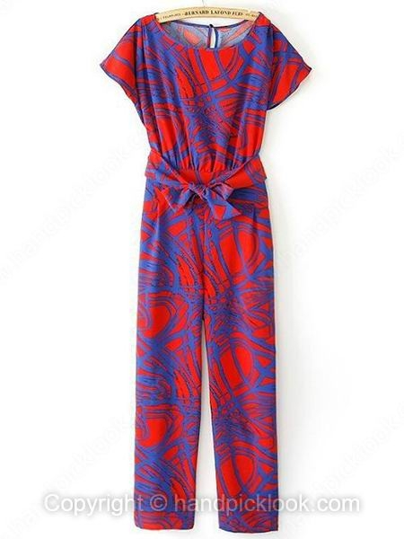 Red Round Neck Short Sleeve Geometric Print Jumpsuit - HandpickLook.com