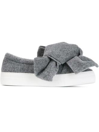bow oversized women sneakers wool grey shoes
