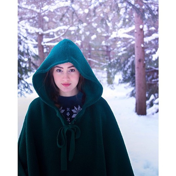 winter outfits coat green forest green cape