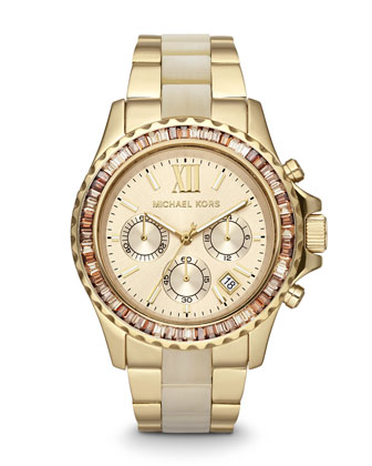 Michael Kors Mid-Size Two-Tone Stainless Steel Everest Chronograph Glitz Watch - Michael Kors