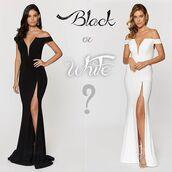 dress,ashley lauren,white dress,black dress,side split,strapless,prom dress,evening dress