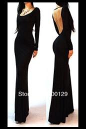 dress,black maxi backless formal