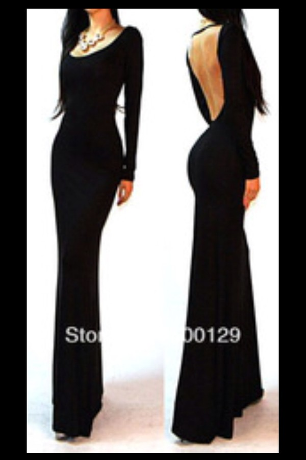 dress black maxi backless formal