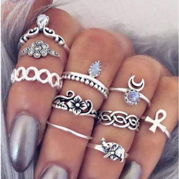 Jewels Boho Boho Chic Silver Nail Polish Acrylic Nails