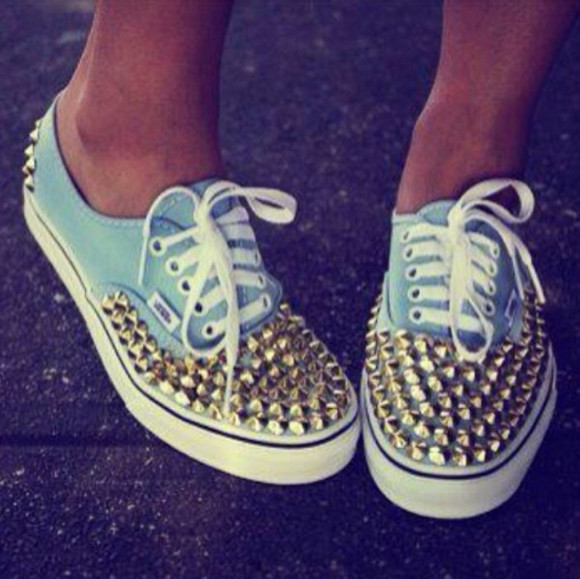 shoes vans studded vans studded turqoise blue