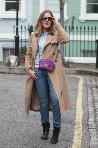 blogger sunglasses jeans bag sweater coat t-shirt