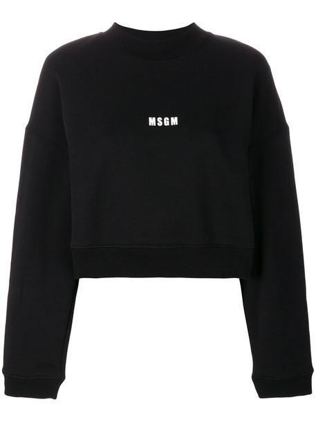 MSGM sweatshirt cropped women cotton black sweater