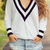 Deep V-Neck Loose Sweater|Disheefashion
