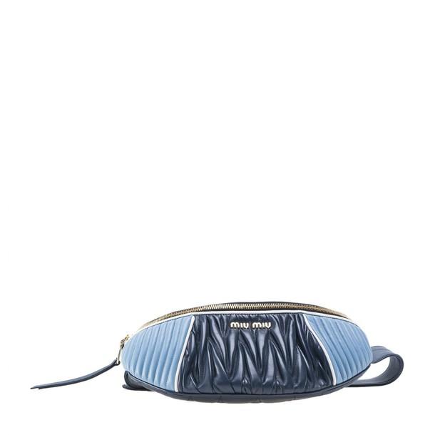 belt bag pleated bag blue