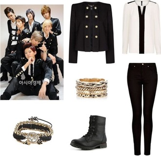 jacket jeans shirt blouse korean fashion korean style black
