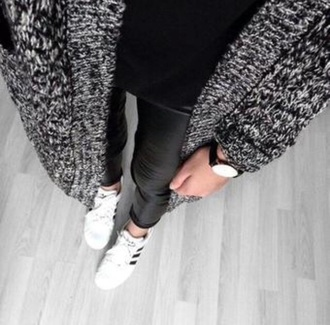 cardigan grey grey cardigan black leather black leather pants leather leggings leather watch adidas shoes adidas sweater winter outfits