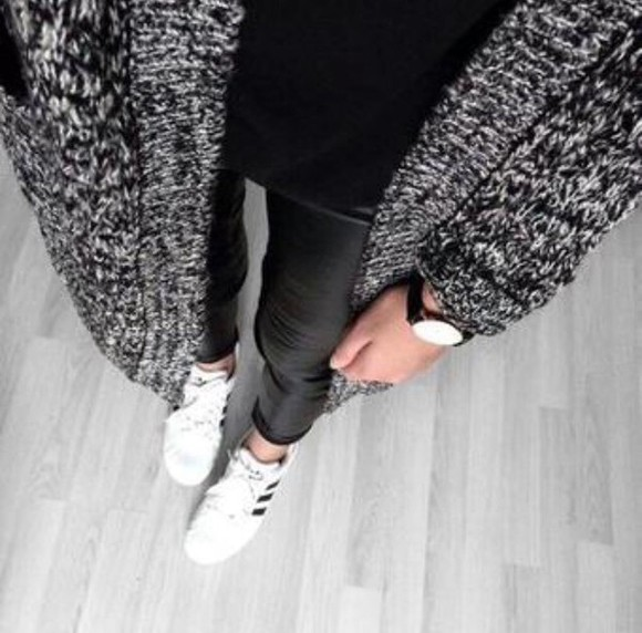 black leather black leather leather leggings cardigan grey grey cardigan leather pants watch adidas shoes adidas sweater winter outfits