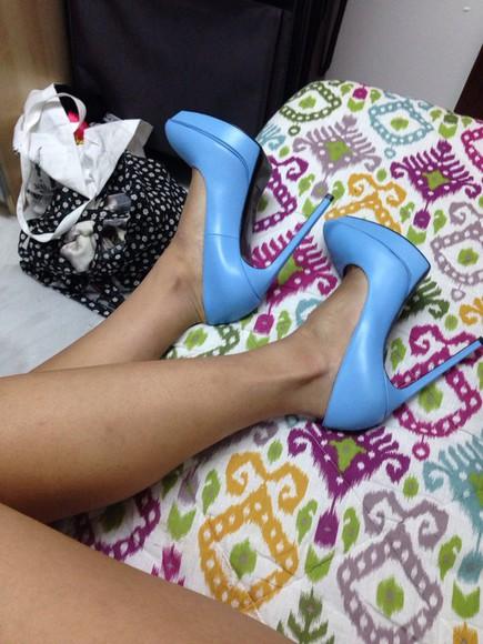 yves saint laurent saint laurent shoes saint laurent blue high heels ss14