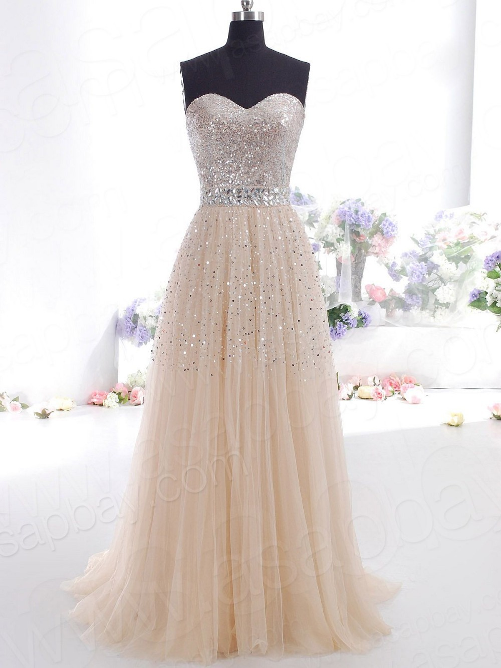Champagne Long Prom Dresses Sweetheart Tulle Beaded Evening Party Evening Gown SIZE 4 6 8 10 12 14 16/Lace up-in Prom Dresses from Apparel & Accessories on Aliexpress.com