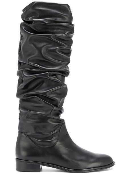 flat boots women leather black shoes