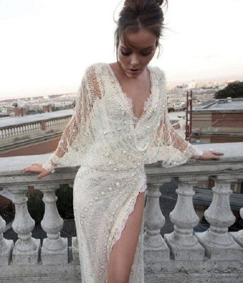 sequin dress sequins pearls white dress bohemian dress beautiful crochet