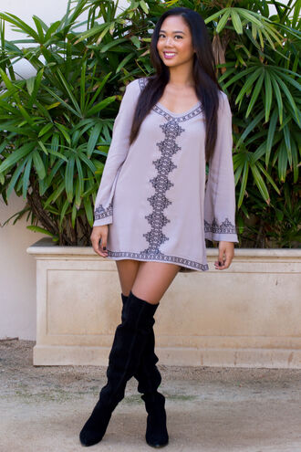 dress cute dress tribal pattern tan boots thigh high boots tumblr outfit fall dress fall outfits trendy ootd long sleeves long sleeve dress black boots love