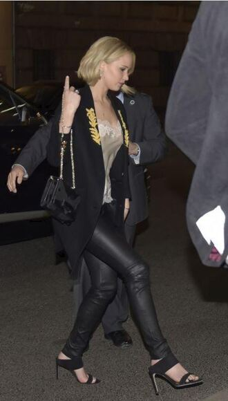 coat jennifer lawrence fall outfits pants shoes suede mule mules black shoes leather pants black pants top nude top black coat bag black bag celebrity