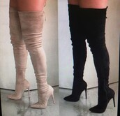 shoes,thigh high boots,knee high boots,boots,over the knee boots,thigh-high boots,thigh boots,thigh highs,high heels boots,thigh high heel boots,knee high boot heels,heels,knee,high,suede,suede boots,black,brown,instagram,chic,tumblr,style,instachic,tan,nude thigh high boots