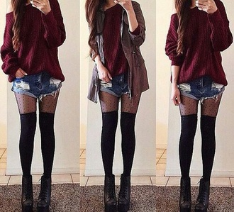 leggings style clothes shorts shoes badass dark jacket sweater stockings