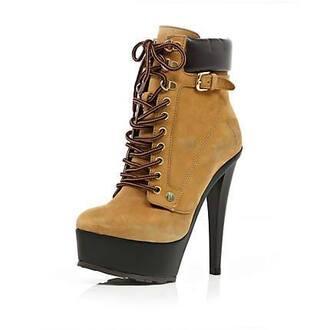 shoes camel shoes river island high heels plate platform high heels
