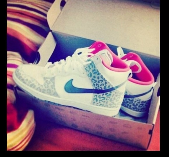pink and white shoes cheetah print nikes