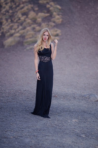 chiara blonde salad black dress