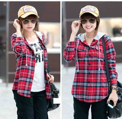 Online Shop Hot Fashion 2014 Autumn Hoody Red Plaid Shirt women clothing slim female Cotton brief Ladies Wear simple shirt Young Girl Shirt|Aliexpress Mobile