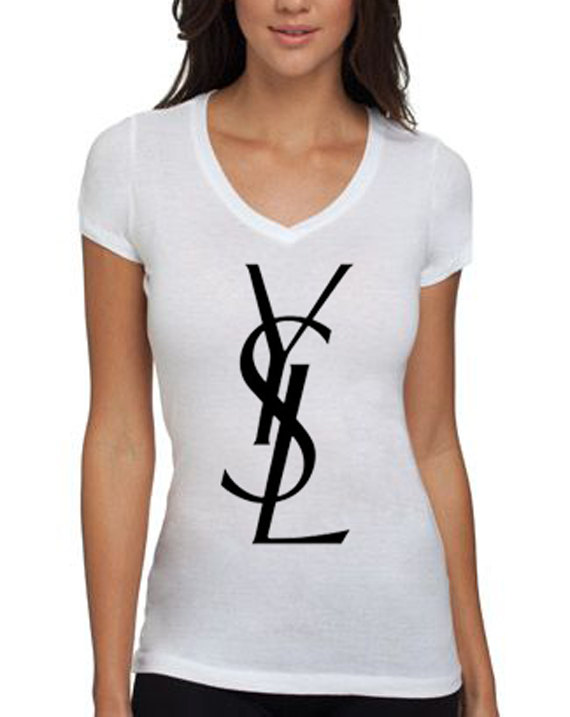 Ysl women 39 s tshirt in white size xlarge by calishirtsplus for Saint laurent paris t shirt