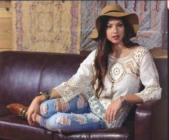 blouse white blouse boho crochet lace