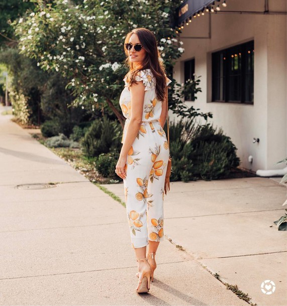 a8f66f74b2e9 jumpsuit tumblr cropped jumpsuit floral floral jumpsuit sunglasses sandals  sandal heels high heel sandals