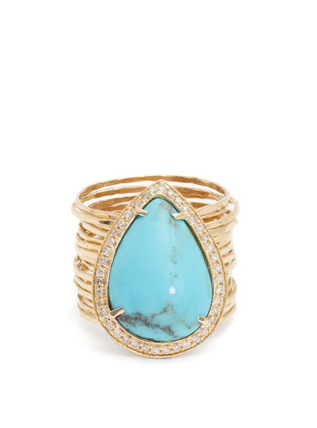 ring gold ring gold yellow turquoise blue jewels
