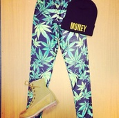 weed,leggings,pants,shoes,hat,jeans