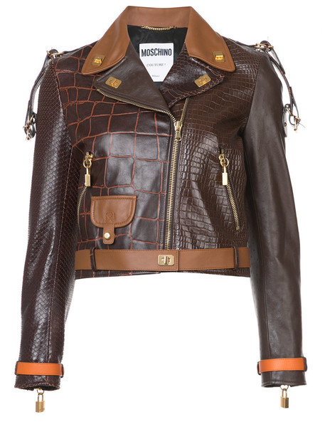Moschino jacket biker jacket women brown crocodile