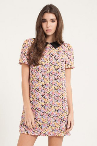 Collared Floral Tunic Dress